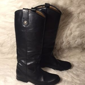 Gorgeous Frye black leather knee hi button  boots